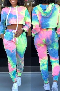 Shyfull Casual Hooded Collar Two-piece pants Set Cute Lazy Outfits, Swag Outfits For Girls, Cute Swag Outfits, Girls Fashion Clothes, Sporty Outfits, Teenager Outfits, Teen Fashion Outfits, Jugend Mode Outfits, Tie Dye Fashion