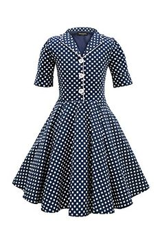 BlackButterfly Kids Sabrina Vintage Polka Dot 50s Dress Midnight Blue 1314 YRS * You can find out more details at the link of the image.