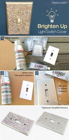 O interruptor e o espelho de luz são detalhes que podem fazer uma bela diferença na decoração, você sabia? Veja ideias criativas e divertidas para customizar o espelho e o interruptor de luz. Glam Bedroom, Bedroom Decor, Diy Room Decor, Girls Bedroom, Bedrooms, Light Switch Plates, Light Switch Covers, Bathroom Light Switch, Bling Bathroom