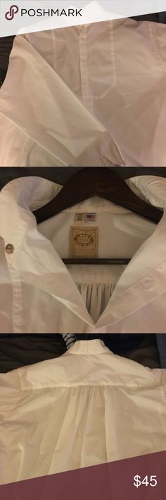 WahMaker Men's Victorian Style Shirt Men's WahMaker XL Late Victorian / Early Western White Long sleeved shirt. Sleeve: 35-36 Chest: 46-48. Used only a few times for Victorian fairs.  Usual WahMaker standards and Made in U.S.  100% Cotton. Included is the collar stud you see.  There is one blemish I noticed while ironing and that's a small ink mark on the inside end of the right hand sleeve.  I added a photo of that as well.  WahMaker Style 579280.  #WahMakerShirt #VictorianShirt…