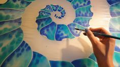 Hand painted silk scarf Nautilus marine scarf by JoannaArtDesign