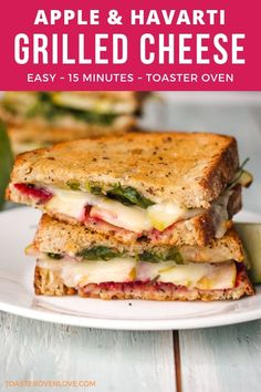 Grilled Cheese with Apple and Havarti These easy toaster oven grilled cheese sandwiches come together in less than 15 minutes. Stuffed with crisp apple slices, crunchy walnuts, and melty havarti cheese they're the perfect quick dinner for two! Toaster Oven Grilled Cheese, Toaster Oven Cooking, Toaster Oven Recipes, Quick Dinners For Two, Meals For Two, Veggie Sandwich, Sandwich Recipes, Vegetarian Sandwiches, Feta