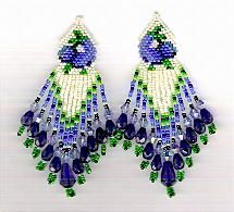 Texas Bluebonnet Earrings Pattern by Charlotte Holley - Beaded Legends by Chalaedra at Bead-Patterns.com