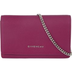GIVENCHY Pandora chain wallet clutch ($505) ❤ liked on Polyvore featuring bags, handbags, clutches, bolsas, givenchy, sac, orchid purple, genuine leather handbags, givenchy purse and leather clutches