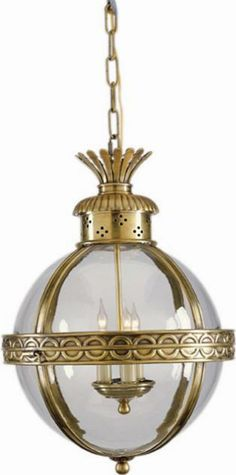 Crown Top Banded Globe in Antique-Burnished Brass with Clear Glass