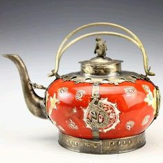 Collected Tibet Silver Porcelain Dragon Teapot