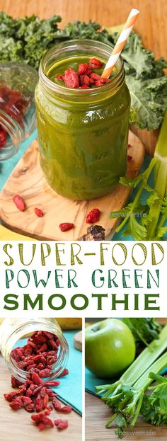 Start your day off right with this super foods power green smoothie! Delicious and completely healthy. Click the photo for the full recipe.