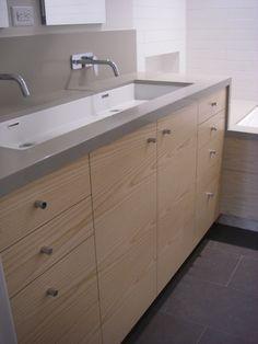 Long Undermount Bathroom Sink. Corian Trough Sink Bathroom