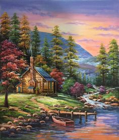ID size 20 inch 100 hand-made oil painting decoration murals Art Home Decor Wall Decor Abstract Simple modern canvas Landscape Art, Landscape Paintings, Kinkade Paintings, Scenery Paintings, Bob Ross Paintings, Paintings Famous, Cottage Art, Mural Art, Art Art