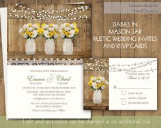 mason jar daisies daisy wedding invitations rustic mason jar wedding white and yellow daisies - Daisy Wedding Invitations