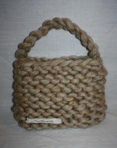 knitted bag in super bulky yarn and giant knitting needles fat russian roulette merino yarn worldwide shipping online shopping! Giant Knitting, Russian Roulette, Super Bulky Yarn, Knitted Bags, Knitting Needles, Straw Bag, Online Shopping, Homemade, Pattern