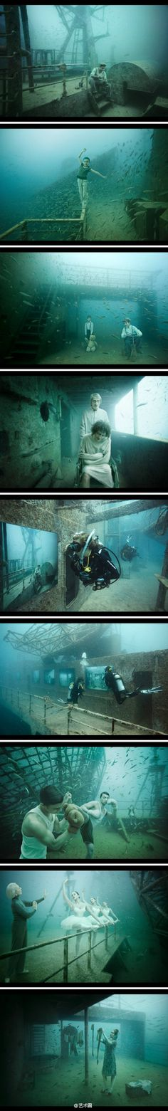 Andreas Frank, avid diver and photographer who juxtaposes shipwrecks and underwater images with images on land.
