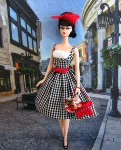 ma petite fleur Barbie doll black white gingham day dress