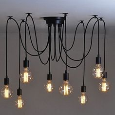 Buyee® 8 Lights Vintage Edison Lamp Shade Multiple Adjustable DIY Ceiling  Spider Lamp Pendent Lighting Chandelier Modern Chic Easy Fit Industrial  Dining ...