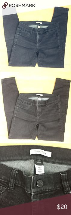 """WHBM Black Slim Jeans A sought-after jean that goes with everything... slim leg in full length and a flattering black wash. Faux pockets in front, real pockets on rear. Gently used but great condition! Size """"small"""" runs a little big -- fits like size 6 or 28.  Please feel free to make an offer! :) White House Black Market Jeans Skinny"""