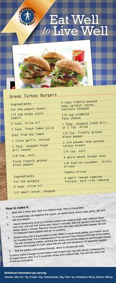 Greek Turkey Burger recipe! PIN this family favorite for your next 'burger' night! #recipe #burger #healthyliving