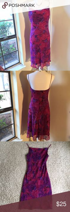 California Concepts Dress *Like New* This lovely dress would be perfect for a wedding or with a cardigan. It has pretty purple and fuchsia colors and a flattering neckline. It's in excellent condition and it may have been worn but has not visible signs of wear. California Concepts Dresses