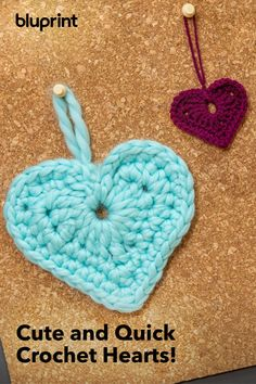 Stitch up a bunch of crochet hearts — you can make 'em using scrap yarn — and attach them to whatever gift your loved one would like best. Quick Crochet, Love Crochet, Crochet Gifts, Crochet Flowers, Crochet Hearts, Single Crochet Stitch, Treble Crochet Stitch, Crochet Stitches, Easy Crochet Patterns
