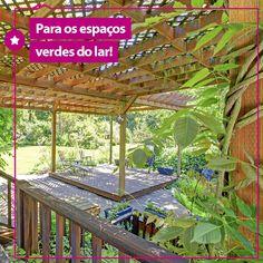 Para um jardim pequeno no quintal ou até na varanda, a dica é a utilização de pérgolas, que dão um toque especial no ambiente, delimitam um espaço próprio e especial para as plantinhas e fica um charme na decoração!