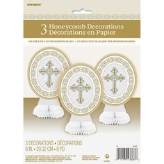 Mini Radiant Gold and Silver Cross Religious Centerpiece Decorations, Blue Centerpieces, Centerpiece Decorations, Centrepieces, First Communion Party, Baptism Party, Dinner Places, Easter Religious, Blue Party, Cross Designs