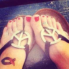 Peace sign sandals