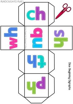 Free Digraph Cards and Dice FREE Digraph Dice. Such a fun way to get kids practicing those tricky digraph sounds. Roll the dice and name a word that has that digraph! Jolly Phonics, Teaching Phonics, Phonics Activities, Kindergarten Literacy, Reading Activities, Teaching Reading, Work Activities, Guided Reading, Teaching Ideas