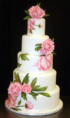 Stunning! ~ Hand painted Sugar Peonies Wedding Cake ~ all edible