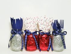 Glitter Mason Jars, Wedding Centerpieces, Red White and Blue Party Decor, Silver and Red Glitter Jars, Graduation Decor, Set of 4 by LimeAndCo on Etsy https://www.etsy.com/listing/233584140/glitter-mason-jars-wedding-centerpieces