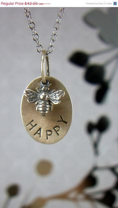 "Inspirational Bee Happy Sterling Necklace, Queen Bee, Graduation Gift, Quote ""Bee Happy"", Gift for Her, BFF, Handstamped, Custom"