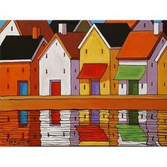"Fine Art Print by Cathy Horvath 8 1/2""x11"" Modern Folk Art Abstract Giclee Town Pier Row House Water Landscape Archival Artwork Reproduction"