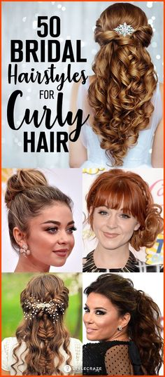 50 Simple Bridal Hairstyles For Curly Hair. Who doesn't want to look their best on the wedding day? We list out 50 different hairstyles which are simple yet classy. Create a stir once you wear them. The variations are easy to achieve and take less time. #hairstyle #curly #bridal #hairstyles #easyhairstyles