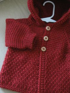 Autum Red Crochet Baby Boy Sweater with Hood. 0-6 Months in Tunisian Crochet - Handmade. $38.00, via Etsy.