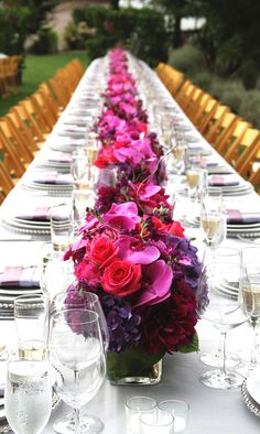 Gorgeous Fuchsia & purple long wedding reception tables on Lommel lawn at… Pink Flower Arrangements, Wedding Flower Arrangements, Wedding Flowers, Long Wedding Reception Tables, Wedding Table, Long Tables, Wedding Receptions, Reception Ideas, Magenta Flowers