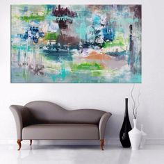 Large Blue abstract art for sale by Paresh Nrshinga Canvas Art For Sale, Abstract Art For Sale, Abstract Canvas Art, Abstract Styles, Blue Abstract, Abstract Landscape, Back Painting, Painting Edges, Interior Design Inspiration