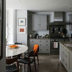 Grey kitchen with stone flooring | Kitchen decorating | Livingetc | Housetohome.co.uk ....grey would be so lovely in my bright kitchen!