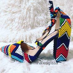 Zulu Wedding, Beaded Shoes, Amazing Wedding Dress, African Fashion, Espadrilles, Illustration, Purses, Wedding Dresses, Heels
