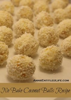 No Bake Coconut Balls Recipe; It is a cookie! It is a candy! Two treats in one. This is an easy to make, creamy and delicious no bake coconut ball with a nutty surprise in the middle. A delightful sweet treat. Candy Recipes, Sweet Recipes, Holiday Recipes, Cookie Recipes, Baking Recipes, Ic Recipes, Mini Dessert Recipes, No Bake Coconut Balls Recipe, Gourmet