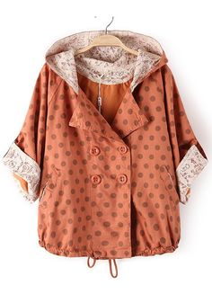Orange Polka Dot Drawstring Dacron Trench Coat