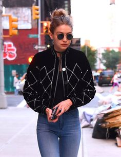 Gigi Hadid velvet bomber with beaded detail, high waisted jeans, choker - street style