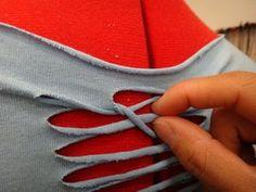 Picture of Weave the Back Diy Cutout Shirt, Diy Lace Up Shirt, Shirt Dress Diy, T Shirt Diy, Shirt Refashion, Zerschnittene Shirts, Diy Cut Shirts, Sewing Shirts, T Shirt Designs