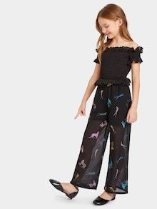 SHEIN offers Girls Shirred Bodice Sheer Wide Leg Bardot Jumpsuit & more to fit your fashionable needs. Dresses Kids Girl, Kids Outfits Girls, Cute Girl Outfits, Girls Fashion Clothes, Tween Fashion, Fashion Outfits, Moda Junior, Jumpsuits For Girls, Mädchen In Bikinis