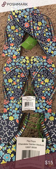 Vera Bradley Chandelier Gardens Flip Flops NWT.   Very cute design!  Bought and forgot I had!  Size medium which is 7-8. Vera Bradley Shoes Sandals