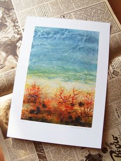 Art print  landscape  turquoise  abstract  Soul by TheGoldenTrees, €13.00