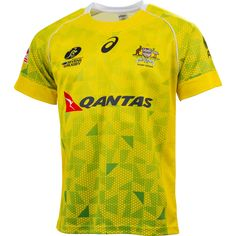 Australian Sevens Rugby 2015 Men's Home Replica Jersey - Wallabyshop Australian Rugby Union Official Online Store Soccer Jerseys, Soccer Players, Goalkeeper Kits, Sports Apparel, Rugby, Sport Outfits, Ms, Shirt Designs, Behance