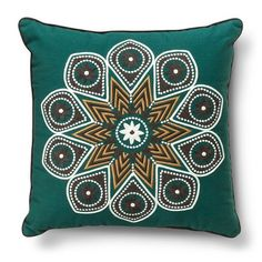 Embroidered Medallion Decorative Pillow - Green - Threshold™ : Target