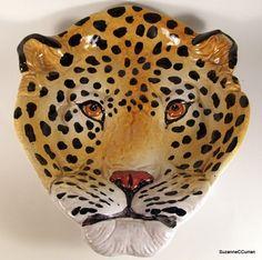 Hollywood Regency Leopard Cheetah Figural Majolica Bowl Italy Art Pottery