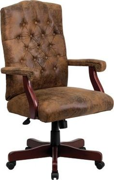 Turn your office into a classic executive suite with the Classic Executive Swivel Office Chair from Flash Furniture. This swivel chair features luxurious touches such as button tufting, padded arms, and a smooth bomber brown finish. Executive Office Chairs, Swivel Office Chair, Look Office, Home Office Space, Office Furniture, Furniture Design, Corner Furniture, Furniture Ideas, Furniture Stores