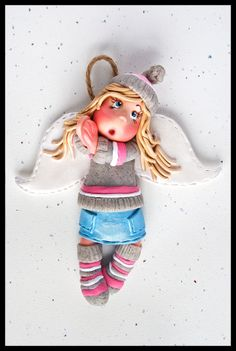 Lucy Youth Angel Polymer Clay Ornament by AngelsNook on Etsy, $25.00