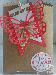 KIT's Cards: juni 2015, Stampin' Up!, Mini Treat Bag Thinlits, Butterfly Thinlits, Butterfly Basics, Banner Thinlits, Chalk Talk