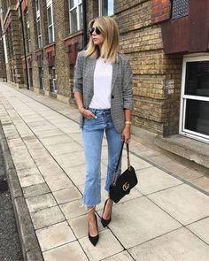 jacket tumblr blazer grey blazer denim jeans blue jeans cropped jeans t-shirt white t-shirt pointed toe pumps bag black bag shoes